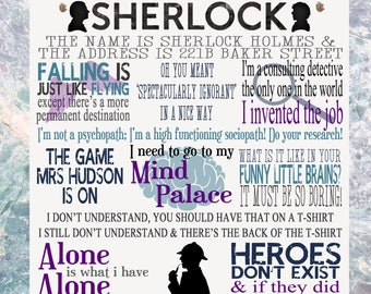 Sherlock TV Show Quotes Plaque Birthday Gift Present
