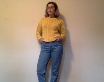 Yellow Cable-Knit Sweater, Yellow Sweater, 90s Pullover, Yellow Pullover, Yellow Crewneck, Yellow Knit