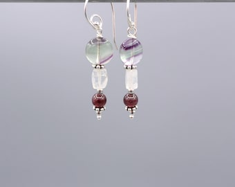 Fluorite Earrings - Moonstone Earrings - Garnet Earrings - dangle Earrings