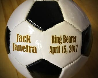 Ring Bearer Gift, Personalized Soccer Ball, Mini Soccer ball, Groomsmen Gift, Gender Reveal, Sports Gift, Christmas Gift, Keepsake