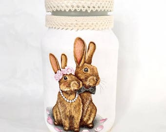 decorative jar, wedding table decor, keepsake jars, cosmetic holder, bunny, bunnies, rabbit, rabbits, decoupage, recycled,reused, white