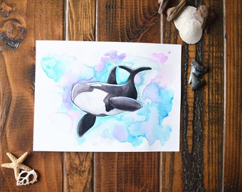 Galaxy Orca - Watercolor Painting