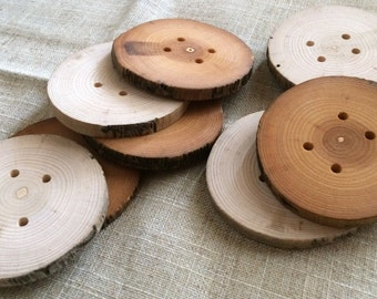 Set of 10 Natural Wood Extra Large Buttons, Wooden Buttons, Natural Wood Buttons, Extra Large Wooden Buttons