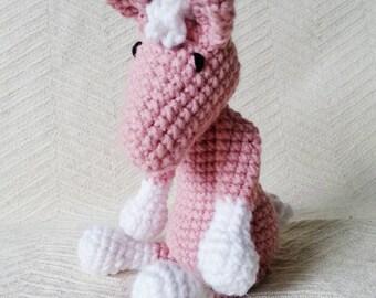 Pink Pony Baby Rattle. Baby Animal Rattles. Crochet Horse. Crochet Animal. Plush Baby Toys. Stuffed Animal. Stuffed Baby Toys. Baby Present.