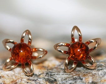 Amber&Gold. Cognac amber earrings. Baltic amber fitted in 14 CT Gold plated sterling silver setting.
