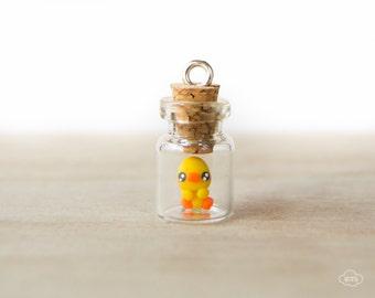 Tiny bottle necklace chick – kawaii pendant mini tiny vial cute miniature