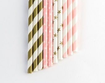 10 pink and gold party straws. Party decorations. First birthday party. Birthday girl. Table decoration.
