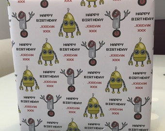 "Personalised Birthday Wrapping Paper ""Bots"" & 2 tags"