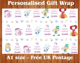 Personalised Alice in Wonderland inspired Birthday Wrapping Paper & 2 tags