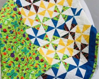 Butterflies and Bugs Blue Green Yellow Pinwheel Quilt