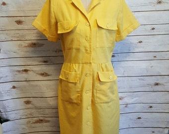 Vintage, 1980's Yellow safari suit dress, Medium