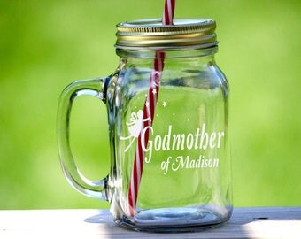 Custom Etched Godmother Mason Jar Drinking Glass, Godmother Mason Jar, Will You Be My Godmother, Godmother Gift