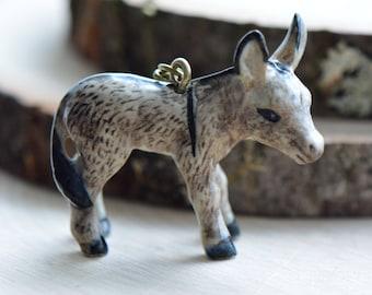 Hand Painted Porcelain Burro Donkey Necklace, Antique Bronze Chain, Vintage Style, Ceramic Animal Pendant & Chain (CA208)