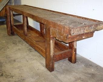Vintage Belgian Industrial Wooden Workbench
