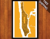 Manhattan Map, New York City Grid Map Print
