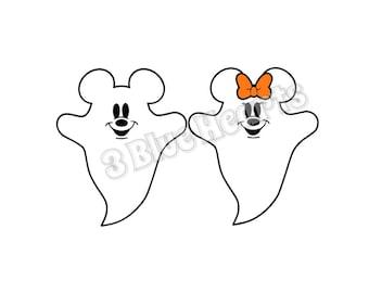 Mickey and Minnie Ghost Studio dxf pdf jpg SVG, Mickey Ghost, Minnie Ghost, Disney Halloween