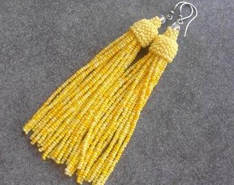 Seed bead yellow sunny tassel earrings