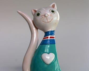One Cute ceramic cat- handmade ceramic cat- home decor - gift idea -MADE TO ORDER