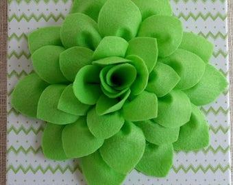 3D Felt Flower Canvas Art Custom Felt Flower Canvas Art Felt Art Girls Canvas Decor Green and White Chevron Wall Art