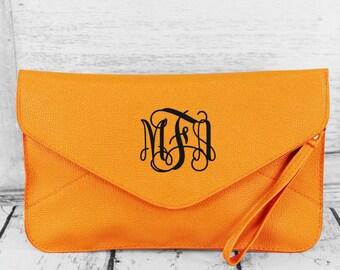 Tangerine Monogrammed Envelope Clutch Purse Handbag Wristlet