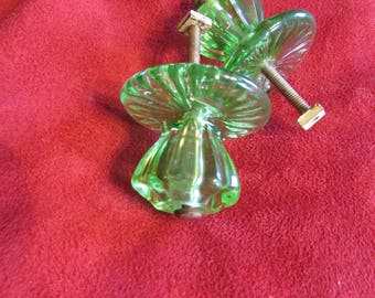 Green vintage glass draw pull's