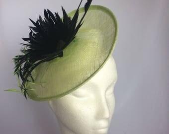 Green Sinamay Saucer Hat, Green Saucer Fascinator, Sinamay Saucer