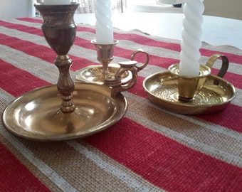 Grouping of Three candleholders With Handles