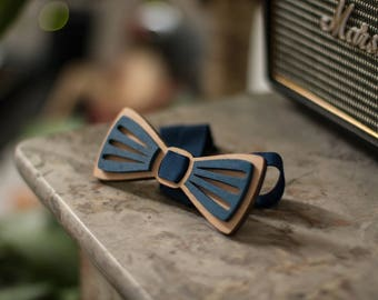 """Wooden bowtie """"moustache"""" lasercut engraved and hand painted"""