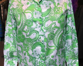 Vintage 1970s Enrico Lime Green and White Polyester Flowered Blouse