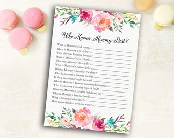 Who Knows Mommy Best, Baby Shower Games, Instant Download, Baby Shower Activity, Baby Shower Game, Baby Shower Activity Card, Who knows Mom