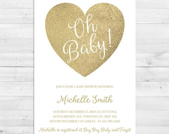 Baby Shower Invitation, Gender Neutral, Baby Shower Invitation Girl, Baby Shower Invitation Boy, Gold, White, Heart, Oh Baby