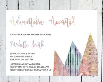Baby Shower Invitation, Adventure Awaits, Mountains, Watercolor, Printable, Printed, Blue, Purple, Orange, Red, Colorful