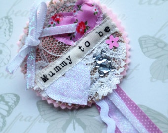 Baby Shower- Mummy to be Baby Shower - Baby Shower Rosette Badge Brooch - Vintage Shabby Chic Baby - Maternity Leave - Floral Pink Jute