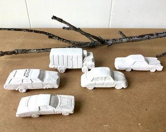 Set of 5 Chalk-Carved Vintage Cars for Car Collectors - Kids Room - Small Art Hand-Crafted Sculpture - Auto Parts