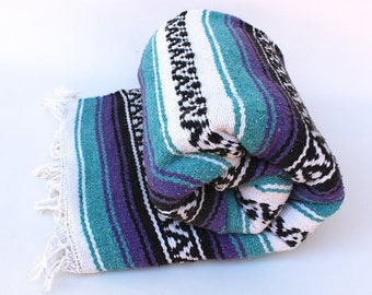 Mexican Throw Blanket - Turquoise & Purple Aztec Design