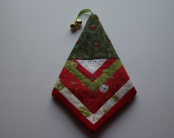 Handmade Quilted Santa  Christmas Ornament