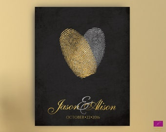 Gold and Silver Wedding Guest Book Alternative Heart Thumbprint Guest book canvas Gold Fingerprint Wedding Guest Book Alternative canvas