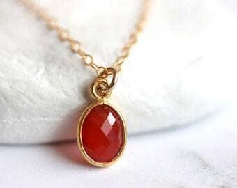 Tiny Carnelian Bezel Pendant, Gold Filled Chain, Orange Gemstone Necklace, July Birthstone