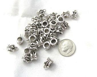 25 Antique Silver Large Hole Charm Bails (B373a)