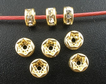 50 Gold Plated Clear Rhinestone Spacer Beads 5x2mm (B142i)