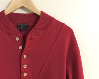 Red Quarter Button Sweater