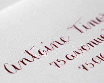 Enveloppes calligraphie à la main - mariage, baptême et tout événement | Style Mistral | Calligraphie d'adresses invitation événements