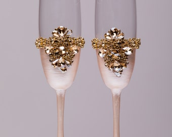 Personalized wedding flutes wedding champagne glasses champagne flutes toasting flutes gold champagne flutes wedding flutes Set of2