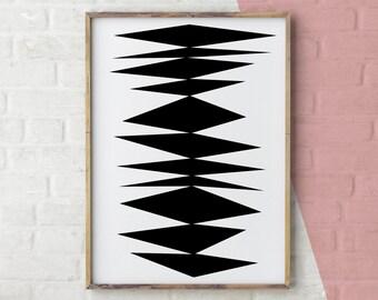 Scandinavian Print, Black and White Wall Art for Bedrooms, Geometric Print, Black and White Print, Instant Download, Printable art, High Res