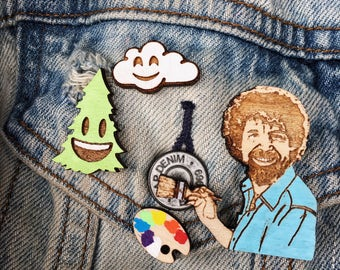 Bob Ross Happy Little Accidents Pin Pack | Support PBS Cute Gift | The Joy of Painting Magnet Set