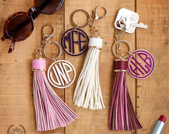 Large Leather Monogram Keychain Tassel, Personalized Key Chain, Initial Keychain, Key Fob