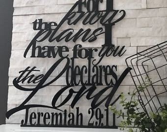 Jeremiah 29:11 For I Know the Plans I Have for You Metal Verse Wall Hang Decor