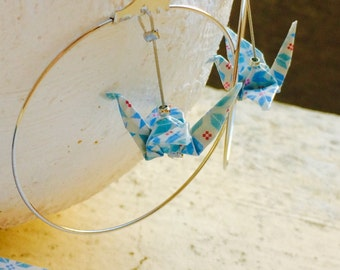 "Earrings Creole ""vintage"" white, blue and silver origami birds"
