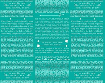 ON SALE - Literary Fabric - Book - Riley Blake Fabric - Ardently Austen Collection - Jane Austen - Fabric by the yard - Cotton - Teal - Text