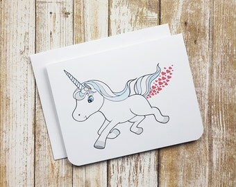 Love Greeting Card - Heart Farting Unicorn - Valentine Card - Love Card - Animal Card - Funny Card - Farting Card - Anyday Card